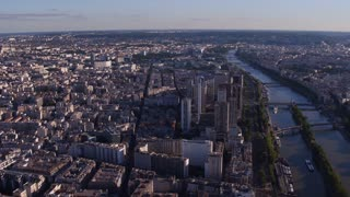 City of Paris France aerial view at sunset 4k