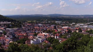 City overview establishing shot of Landstuhl Germany 4k