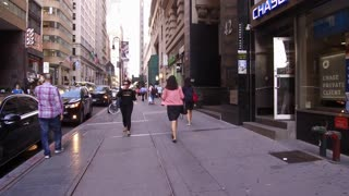 City streets of downtown Manhattan with Chase Bank location