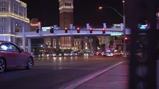 City streets of Las Vegas at Night 4k