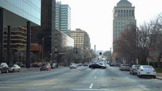 City Traffic establishing shot exterior St Louis downtown 4k