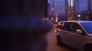 City traffic evening hours of downtown Chicago 4k