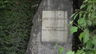 Crematorium memory rock at Dachau 4k