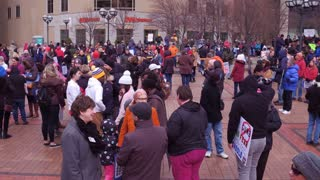 Crowd of supporters at the March for our lives in Dayton Ohio 4k