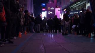 Crowds gathered for street performance in Times Square 4k