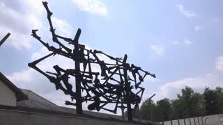 Dachau memorial sculpture at concentration camp 4k