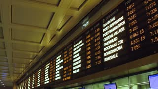 Departure board at Penn Station NYC 4k