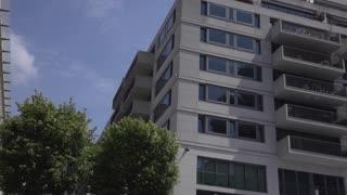 Downtown city buildings establishing shot Berlin Germany 4k