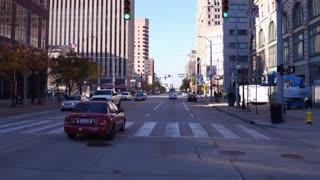 Drive through downtown Dayton Ohio on sunny day 4k