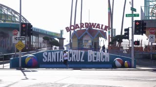 Early morning at Santa Cruz Beach Boardwalk entrance establishing shot 4k