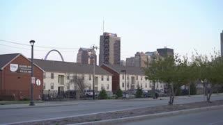 Establishing exterior buildings in St Louis downtown 4k
