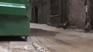 Establishing shot of abandoned run down alley daytime 4k