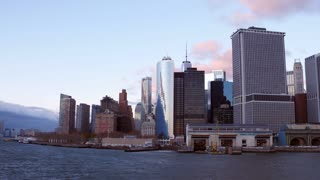 Establishing shot of NYC approaching from water 4k
