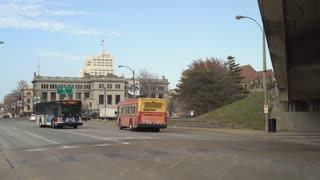 Establishing street shot downtown St Louis exterior 4k