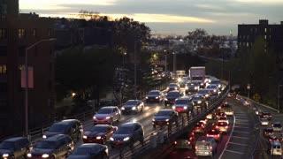 Evening traffic jam through New York City 4k