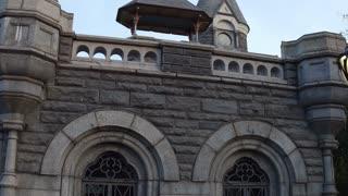 Exterior of Belvedere Castle in Central park establishing shot 4k
