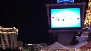 Exterior Paris Hotel and Casino establishing shot Las Vegas 4k