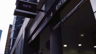 Exterior parking garage in large city 4k
