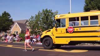 Fairborn City Schools bus in 4th of July parade 4k