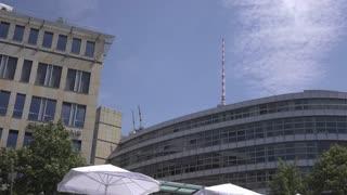 Fernsehturm behind business buildings in Berlin Germany 4k