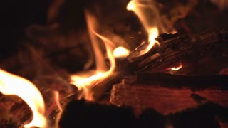 Flames on fire wood burning slow motion