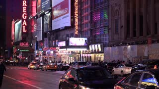 Flashing Broadway lights on busy street of New York City 4k
