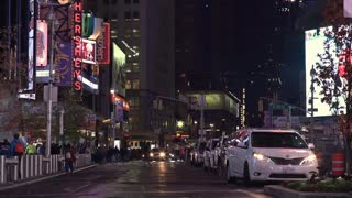 Flashing lights and signs in typical New York City scene 4k