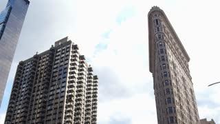 Flatiron building in downtown establishing shot NYC 4k