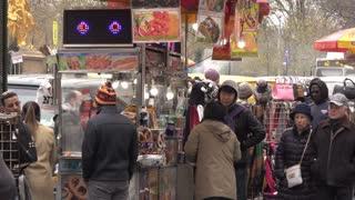Food for sale at street vendor on sidewalk of New York 4k
