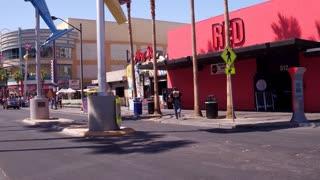 Fremont Street establishing shot in old downtown Las Vegas 4k