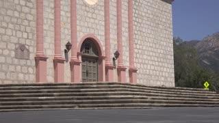 Front entrance to Old Mission Santa Barbara exterior building 4k