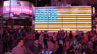Giant light up American Flag in downtown Times Square 4k