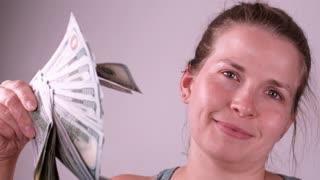 Girl Fanning Herself With 100 Dollar Bills Slow Motion