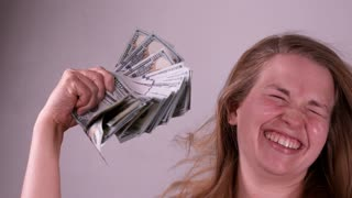 Girl Going Crazy With Lots Of Money In Hand Slow Motion