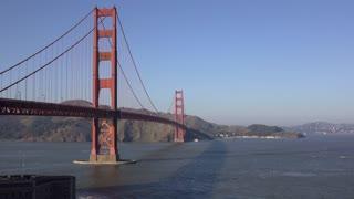 Golden Gate Bridge in San Francisco establishing shot