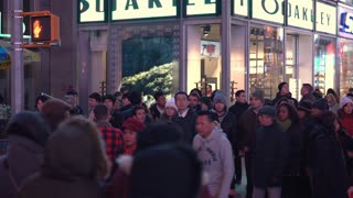 Herds of people walking through Times Square New York 4k