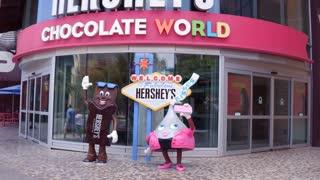 Hershey Chocolate World building exterior Las Vegas 4k
