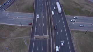 Highway tracking evening aerial shot
