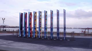 Holocaust Memorial down by river of New Orleans 4k