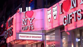 I Heart NY gift shop store front in downtown city 4k