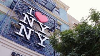 I Heart NY NY sign on exterior of New York New York Casino 4k