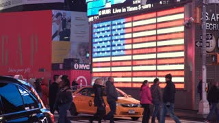 Large American Flag in Times Square Manhattan New York City USA 4k