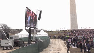 Large Crowd of people watching Inauguration on TV at Washington Monument 4k