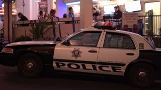 Las Vegas Metropolitan Police cruiser outside of bar 4k