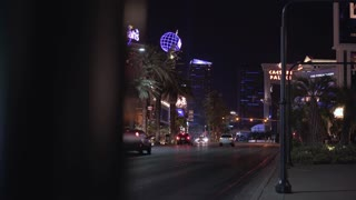 Las Vegas strip late at night with little street traffic 4k