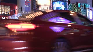 Late night Las Vegas Strip with Planet Hollywood in background 4k