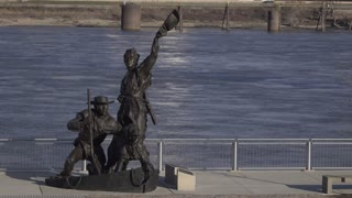 Lewis and Clark statue in downtown St Louis city 4k