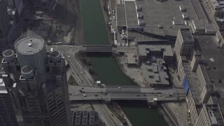 Looking down at bridges over Chicago River
