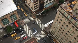 Looking down at New York City intersection aerial view