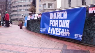 March for our Lives Banner at Dayton Ohio event 4k